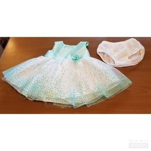 George Turquoise White Tulle Flower Petal Dress